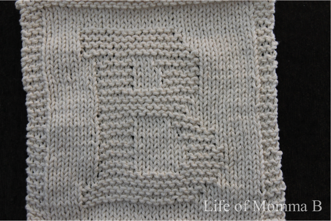 Free Knitting Pattern For Alphabet Blanket : ?B?   dishcloth 5 of 12