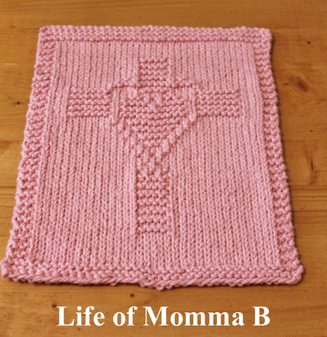cross heart dishcloth